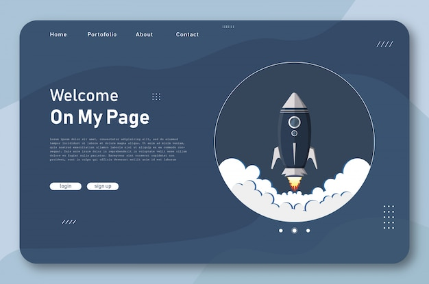 Rocket launch landing page