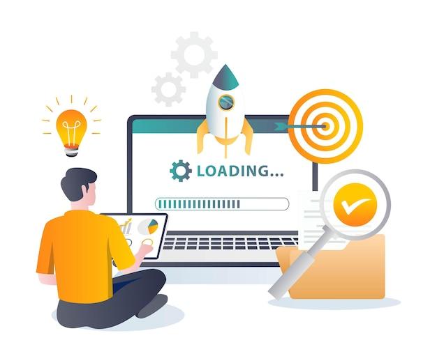 Rocket launch loading process in flat illustration