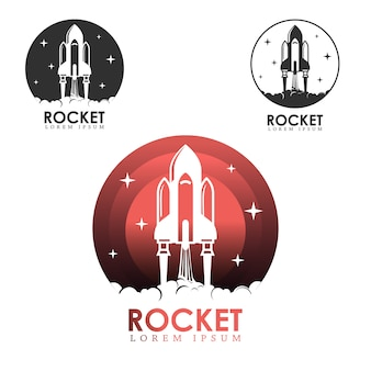 Rocket launch logo set