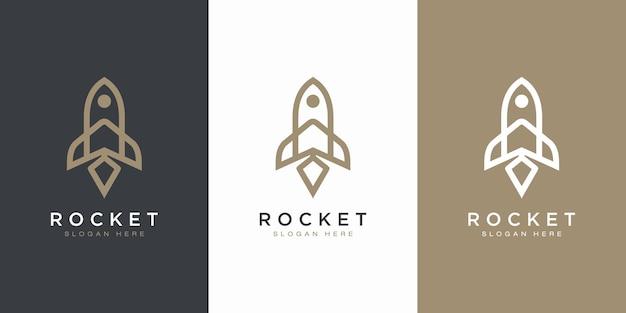 Шаблон логотипа запуска ракеты
