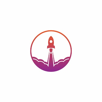 Rocket launch logo vector design template
