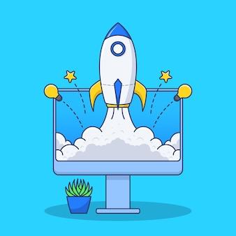 Rocket launch on monitor illustration in flat design