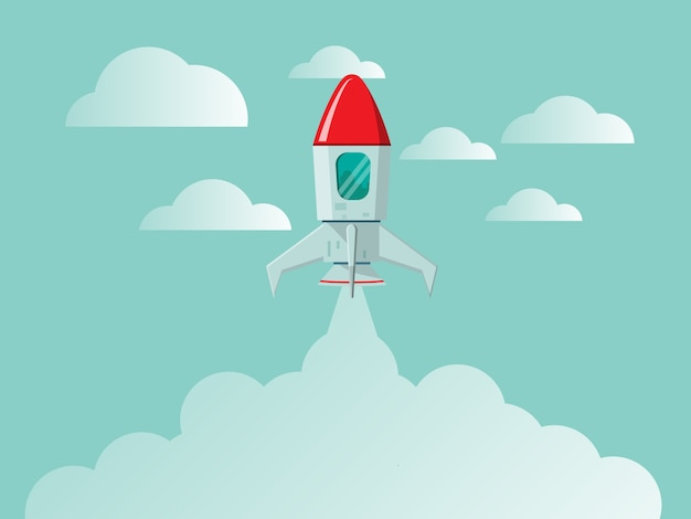 Rocket launch new business startup concept