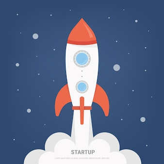 Rocket launch project start up concept in flat design style.