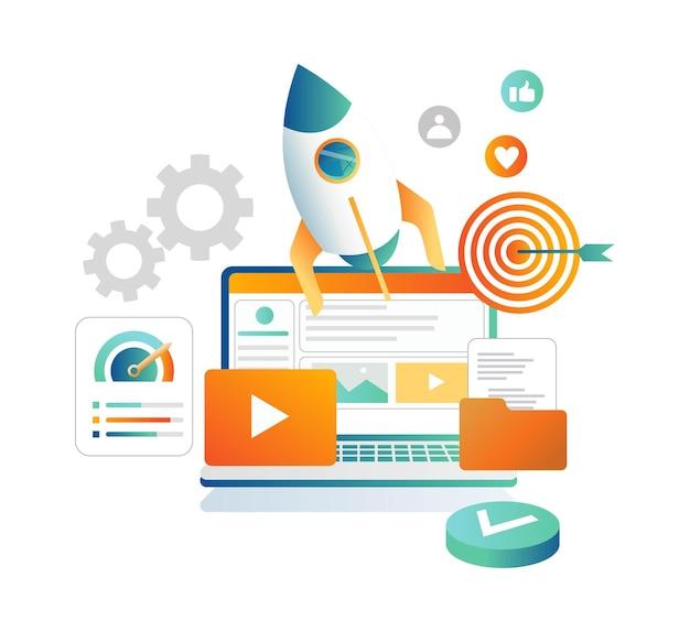 Rocket launch and social media marketing