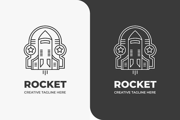 Rocket launch space galaxy monoline logo
