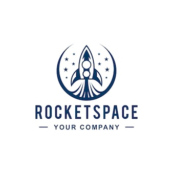 Rocket launch space logo design
