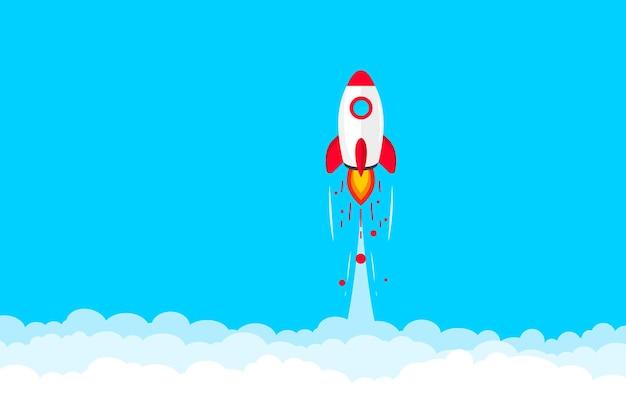 로켓 발사. 우주 로켓 발사. 구름에 비행 로켓입니다. 성공적인 시작 비즈니스 개념입니다. 새로운 프로젝트 시작. 창의적이거나 혁신적인 아이디어. 새로운 제품이나 서비스를 출시합니다. 로켓 이륙