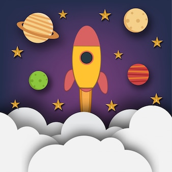 Rocket launch to the space with planets and stars in paper art design.  illustration.