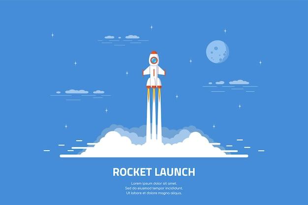 Запуск ракеты, космический корабль. плоский баннер концепции стиля запуска бизнеса.