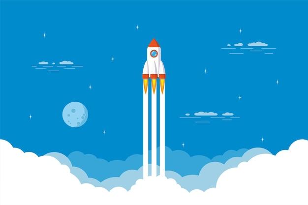 ロケット打ち上げ、宇宙船。起業のフラットスタイルコンセプトバナー。