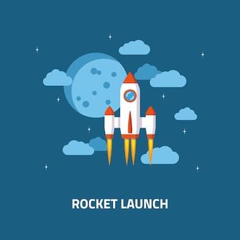 ロケット打ち上げ、宇宙船。起業のフラットスタイルのコンセプト。