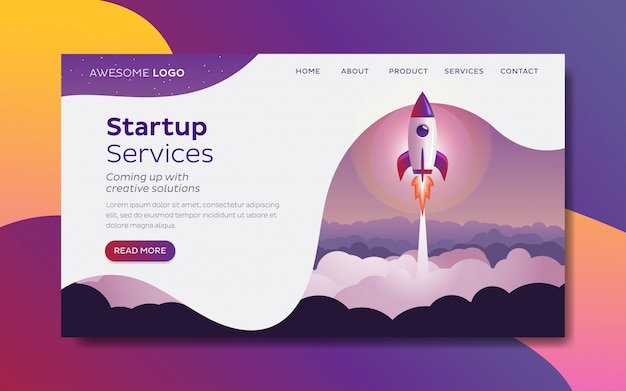 Rocket launch startup concept landing page template