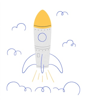 Rocket launch. symbol of successful start. illustration in doodle style