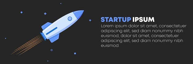 Rocket launching on dark sky background with cloud, business startup concept