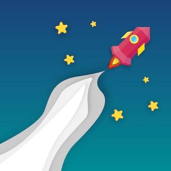 ロケットが無限空間に打ち上げ事業立ち上げと成長の概念。ペーパーアートとデジタルクラフトのテーマ。