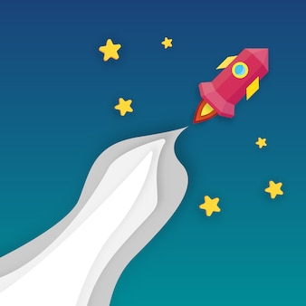 Rocket launching into infinity space. business start up and growth concept. paper art and digital craft theme.