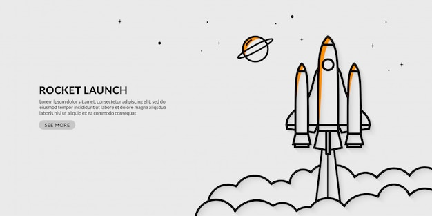 Rocket launching to space banner