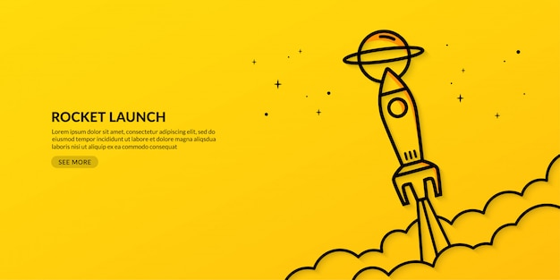 Rocket launching to space business start up banner