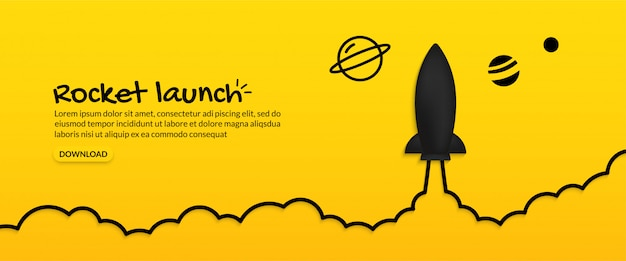 Rocket launching to space on yellow background, business start up concept