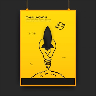 Запуск ракеты в космос с лампочкой, концепция запуска бизнеса