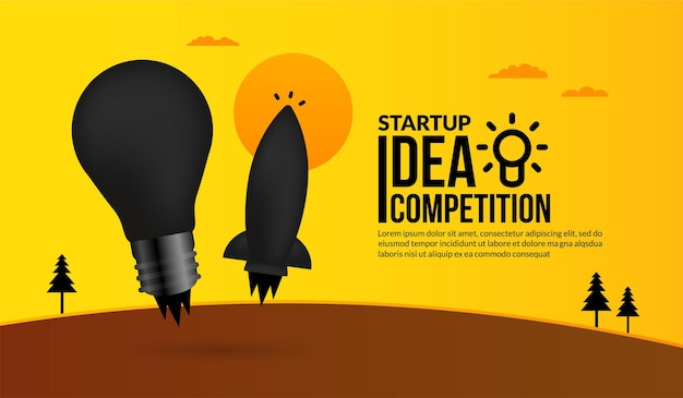 Rocket launching with light bulb concept of business startup idea competition