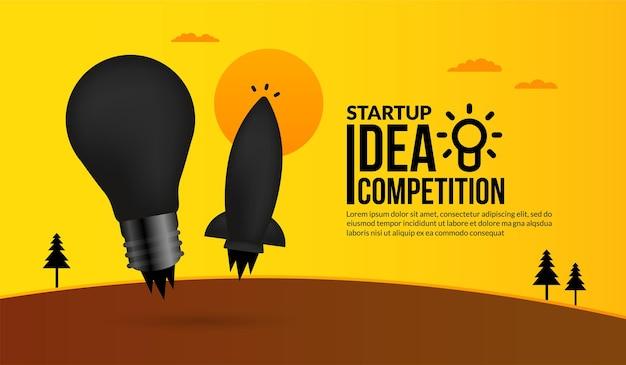 起業アイデア競争の電球コンセプトでロケット打ち上げ
