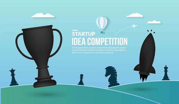 Rocket launching with trophy concept of business startup idea competition