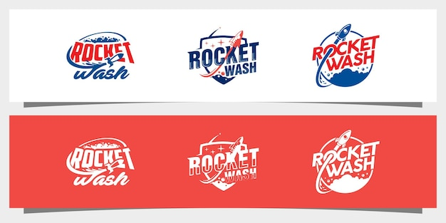 로켓 세탁 로고 디자인 벡터 premium vector