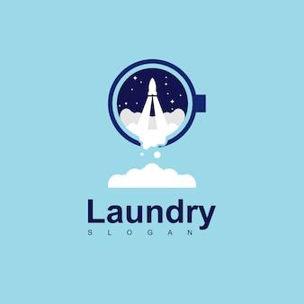 Rocket laundry logo design vector