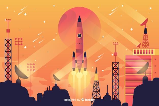 Rocket lifting off background