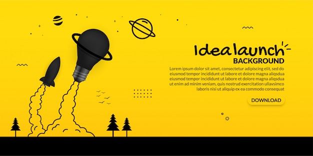 Rocket and light bulb launching to space on yellow background, start up business concept