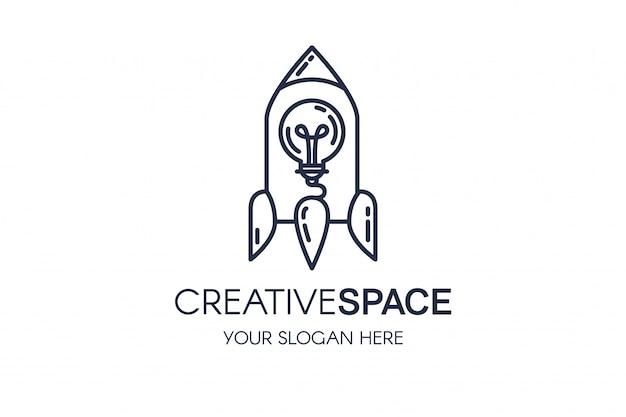 Rocket and light bulb linear vector logo template