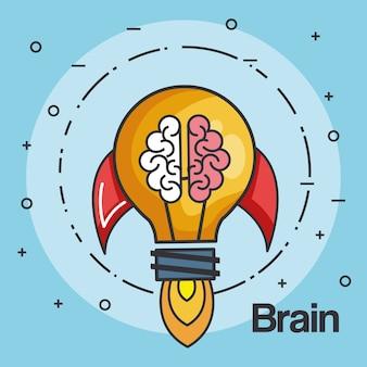 Ракетка лампочка формы и мозг бизнес запуска концепции векторной иллюстрации