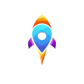 Rocket location logo template