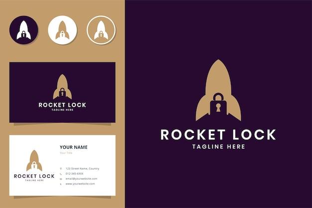 Rocket lock negative space logo design