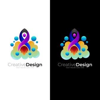 ロケットのロゴとクラウドデザインベクトル、カラフルなアイコンテンプレート