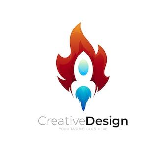 ロケットのロゴと火のデザインの組み合わせ、アップアイコン