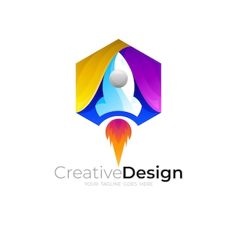 ロケットのロゴと六角形のデザインの組み合わせ Premiumベクター