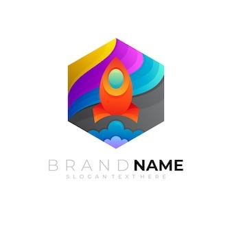 Красочный логотип ракеты и комбинация шестиугольника