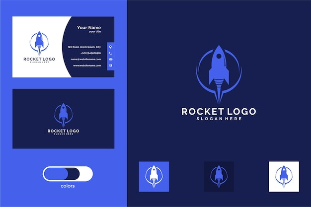 Дизайн логотипа ракеты и визитная карточка