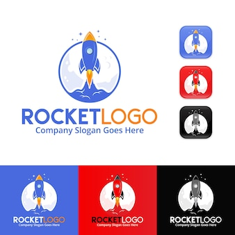 Rocket logo design premium vector