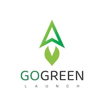 Ракета логотип дизайн шаблона природы лесовосстановления перейти зеленая концепция логотип