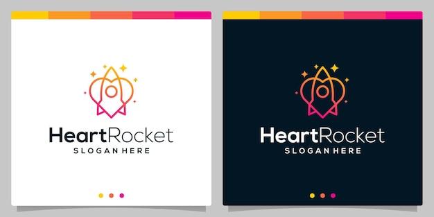 Шаблон вектора значка логотипа ракеты и значок эмблемы сердца с плоскими линиями