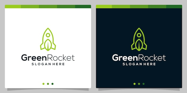 Rocket logo icon vector template and leaf logo icon with flat lines