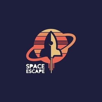 로켓 로고 간단한 공간 그림 셔츠 디자인