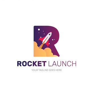 Rocket logo for startup company, initial r shape