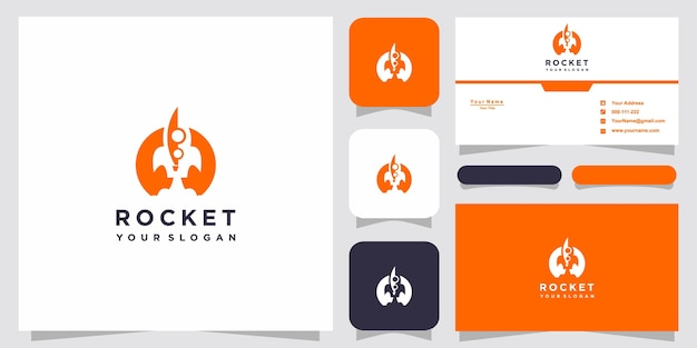 Rocket logo templates and business card design premium vector