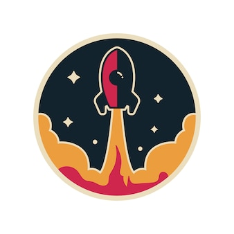 Rocket logo vector with stars