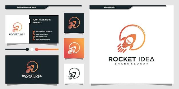멋진 그라데이션 전구 개념과 명함이 있는 로켓 로고 premium vector